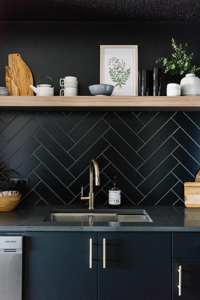 black tiles under wooden shelf black paint above it how to tile a backsplash black cabinets with dark gray countertop