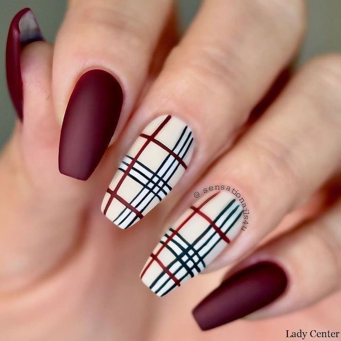 black white and red decorations on two fingers matte red nail polish on the others nail designs 2020 long coffin nails