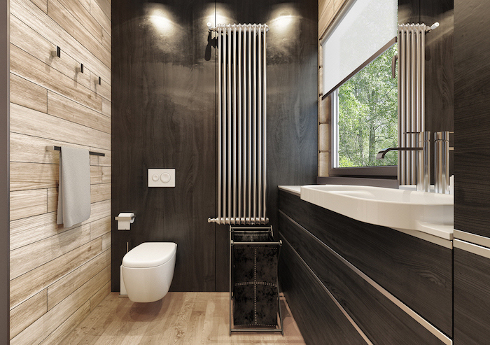black wooden accent wall cabinets how to decorate a small bathroom wooden floor and wall under the shower