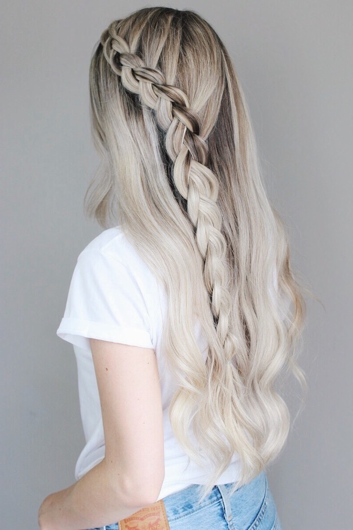 blonde hair with brunette roots waterfall side braid cute hairstyles for school wearing white t shirt jeans