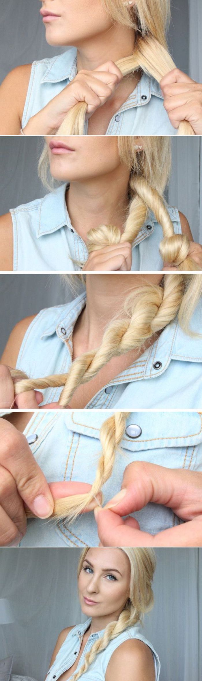 blonde woman with twisted side braid cute easy hairstyles for short hair photo collage of step by step diy tutorial