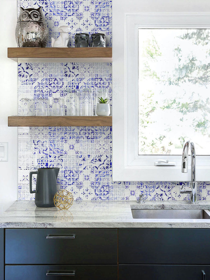 blue and white patterned tiles backsplash tile ideas black cabinets with granite countertops wooden open shelving