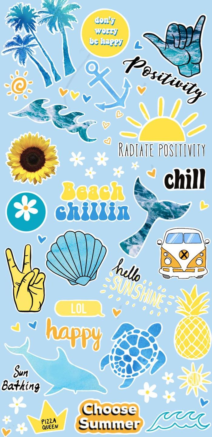 blue background aesthetic vsco wallpapers with different summer themed phrases drawings written into photo collage