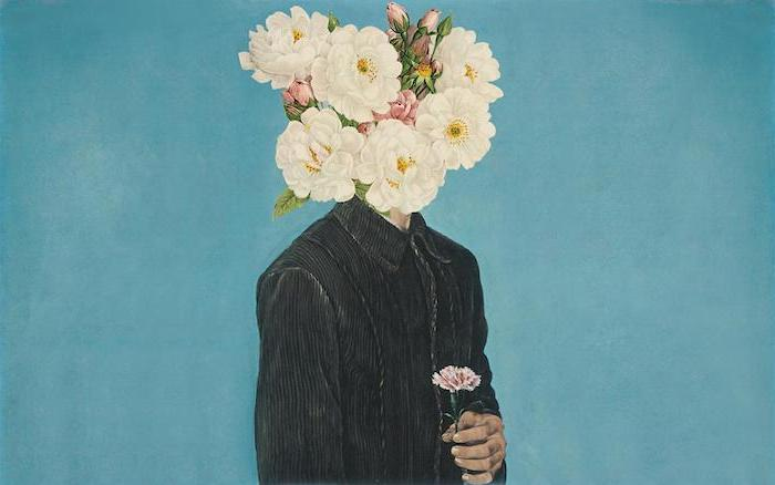 blue background free wallpaper for computer drawing of man with black shirt with white flowers instead of head
