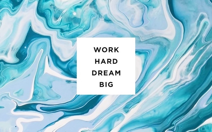 blue gray and white marble background high resolution desktop wallpaper work hard dream big written in black