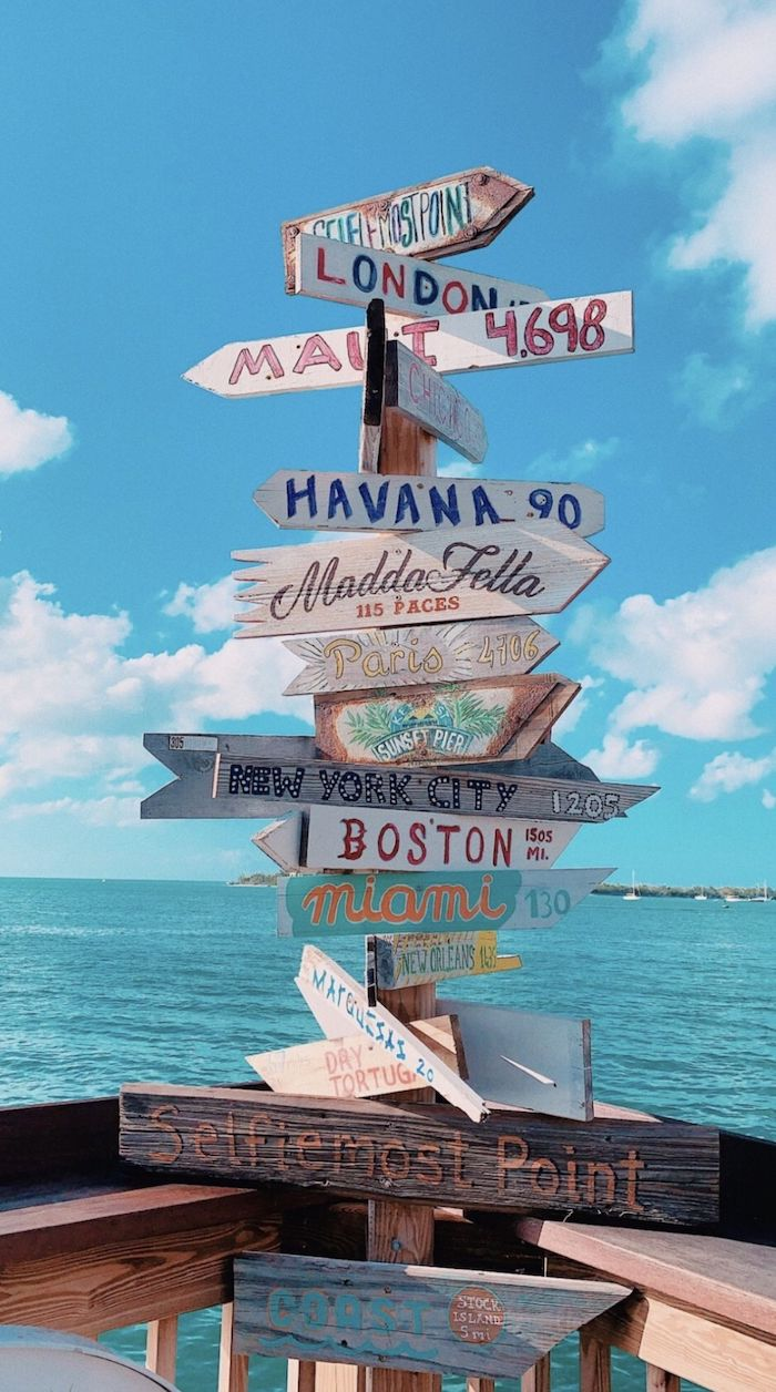 blue sky with clouds above an ocean in the background cute vsco wallpapers lots of signs pointing to different destinations