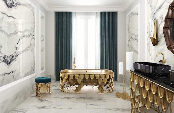 blue velvet curtains marble walls and floor small bathroom remodel golden accents on bathtub cabinet with black marble countertop brass faucets
