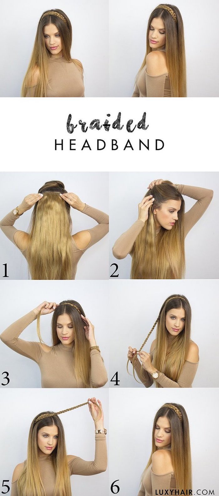 braided hairband tutorial cute hairstyles for school photo collage of step by step diy tutorial on woman with balayage hair