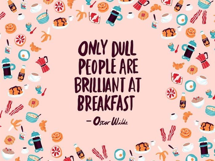 breakfast items drawn on pink background desktop backgrounds for windows 10 only dull people are brilliant at breakfast oscar wilde quote