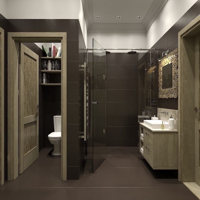 brown tiles on the walls and floor bathroom decorating ideas pictures floating wooden cabinet glass shower cabin