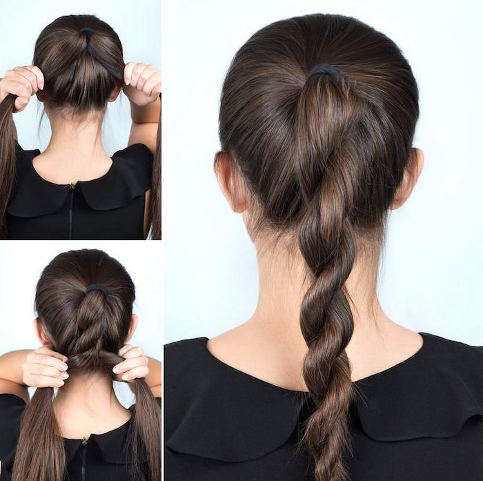 brunette hair cool hairstyles for girls step by step diy tutorial for twisted ponytail on woman wearing black top