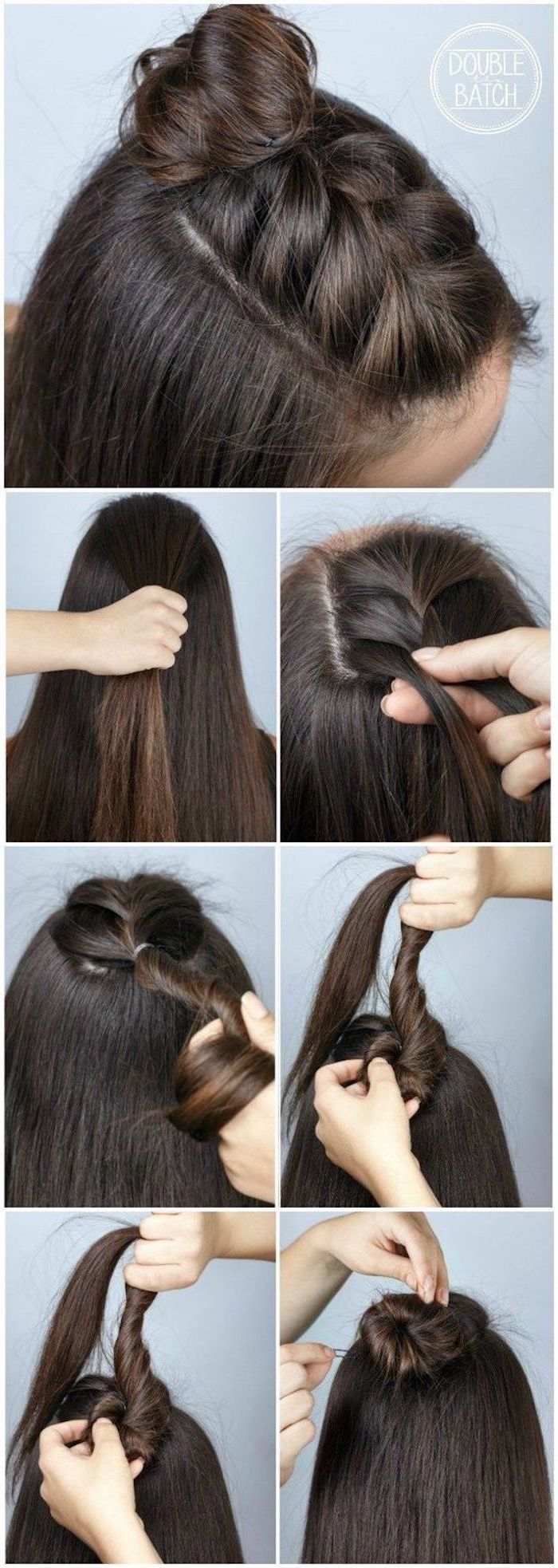 brunette hair with braid on top ending in bun hairstyles for teenage girls step by step diy tutorial