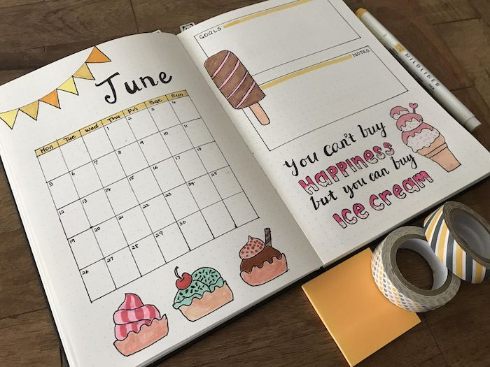 bulet journal page for june with ice cream drawn all over it bullet journal ideas notebook placed on wooden surface