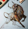bull drawin with pencil and watercolor step by step drawing animals painted on white background