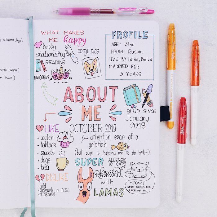 bullet journal ideas about page on white notebook with different drawings words written on it with pink orange red blue green