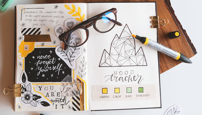 bullet journal pinterest mood tracter with different colors for each day bullet journal pinterest yellow marker and glasses on the journal