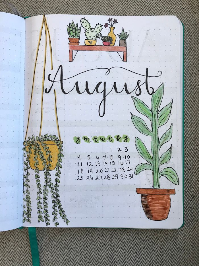 bullet journal weekly spread front page for august with calendar drawn potted plants in white notebook