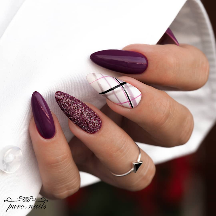 burgundy nail polish on long almond nails nail designs 2020 burgundy glitter on ring finger white nail polish with decorations on middle finger