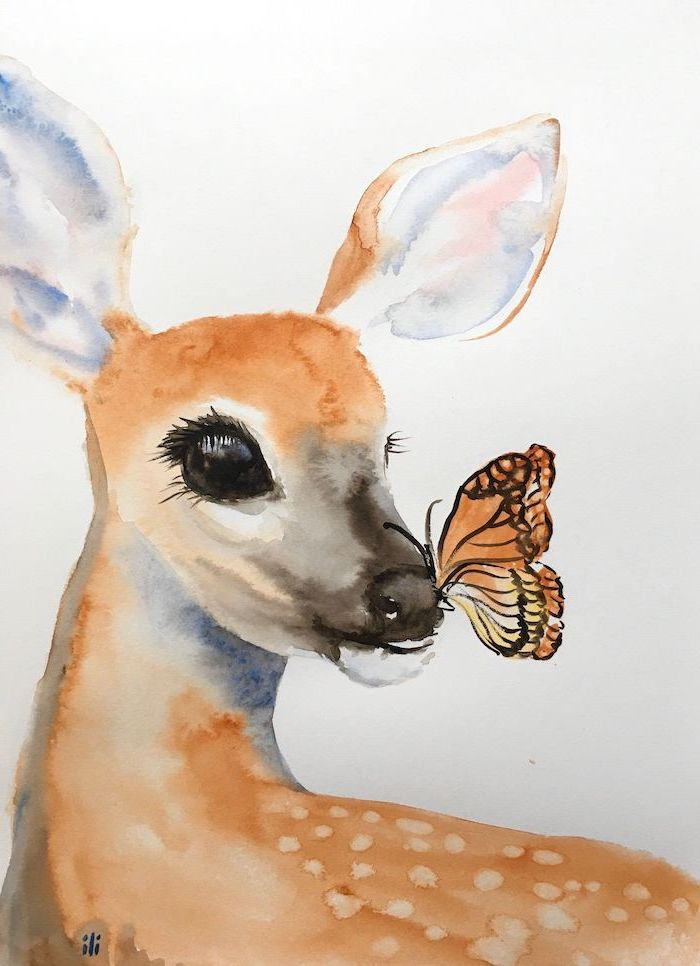 butterfly on the nose of deer watercolor painting simple animal drawings painted on white background