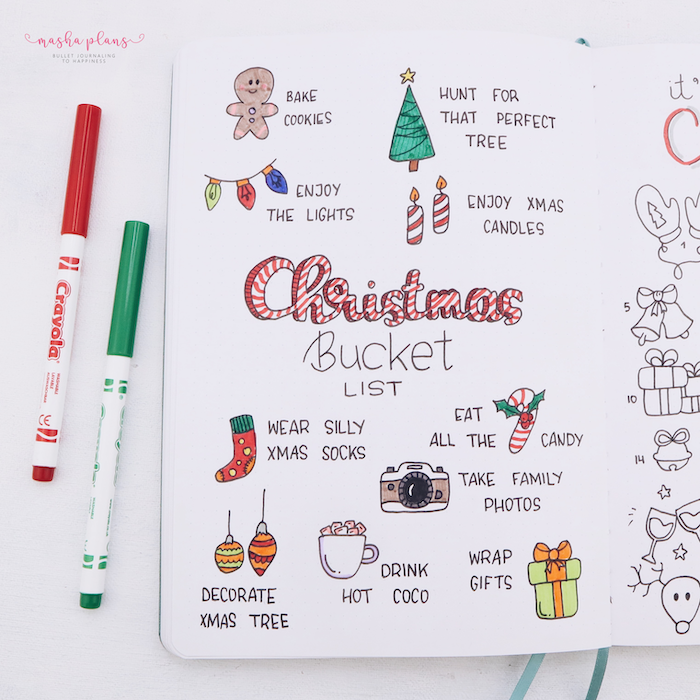 christmas bucket list with small drawings of gingerbread man present candles lights candy bullet journal themes