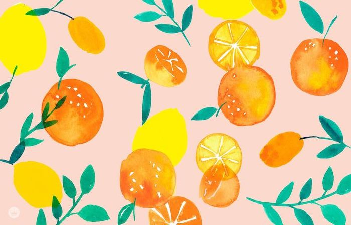 cute computer backgrounds pink background with yellow lemons and oranges with green leaves drawn in watercolor