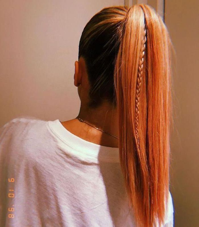 cute hairstyles for girls woman with red hair straightened in ponytail with one small braid in between