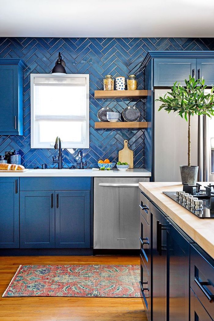 dark blue cabinets with white countertop blue tiles blue kitchen island with wooden countertop kitchen backsplash pictures wooden floor