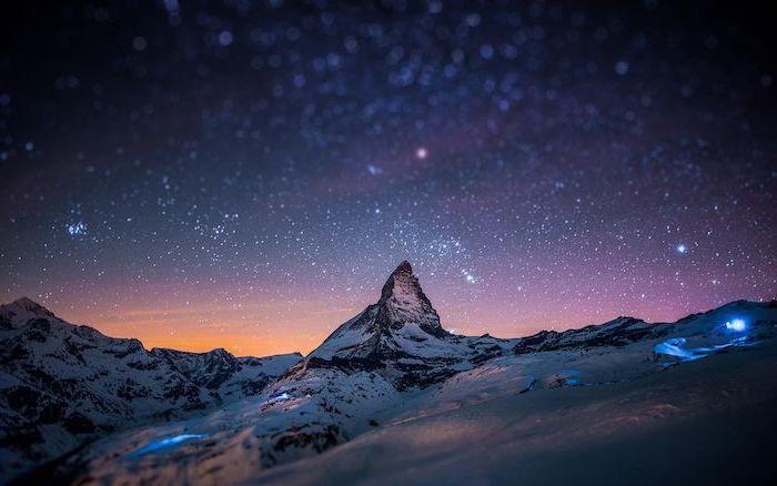 dark blue sky full of stars high resolution desktop backgrounds mountain landscape with snowy peaks
