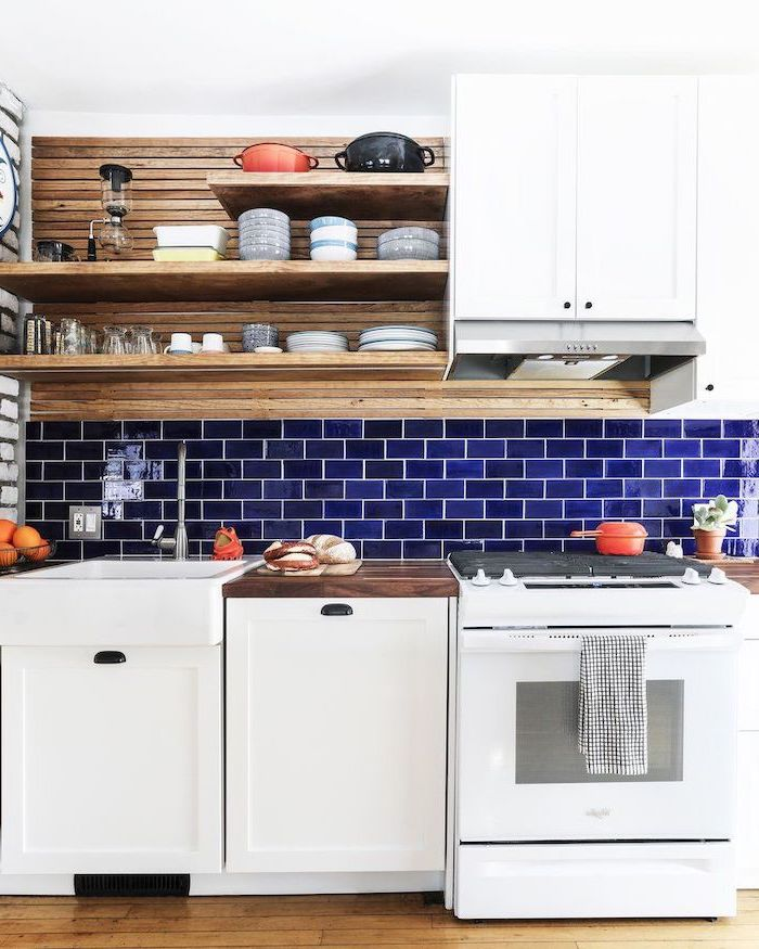 dark blue tiles for backsplash wooden open shelving kitchen backsplash ideas white cabinets with wooden countertop