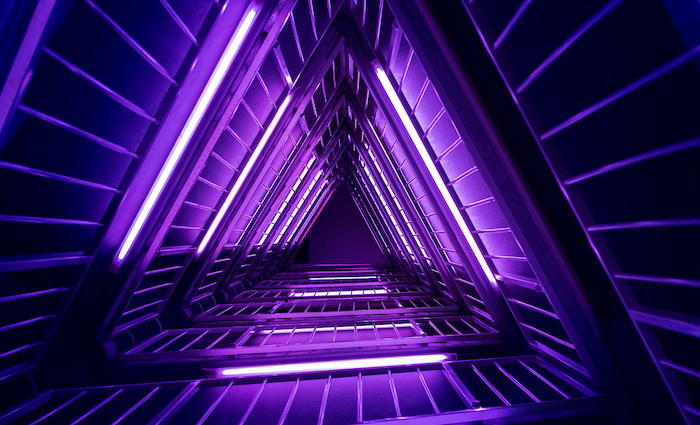 dark purple aesthetic high resolution desktop wallpaper hallway in triangle shape with neon lights