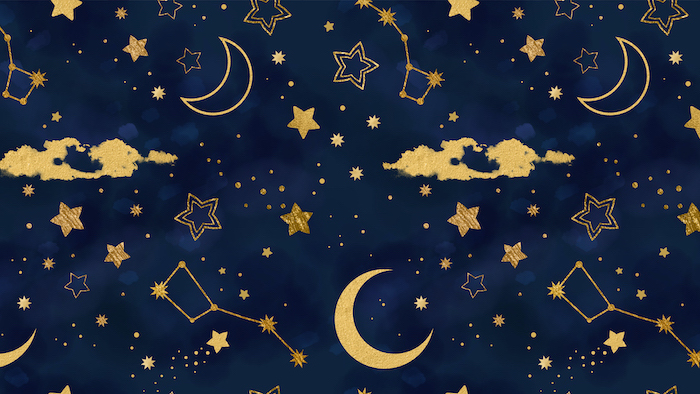 desktop backgrounds dark blue sky with moons stars constellations drawn on it in gold