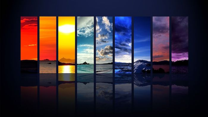 different landscapes photographed at different times of the day cute wallpapers for laptop arranged together on dark background