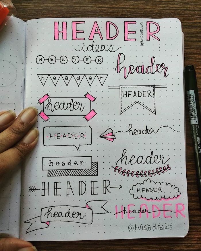 different types of header written in different styles on white notebook what is a bullet journal placed on wooden surface