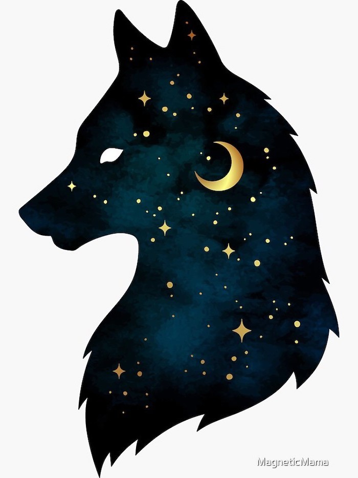 digital drawing of the silhouette of wolf head step by step drawing animals colored like a night sky with stars moon