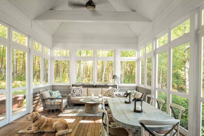 diy screened in porch white wooden ceiling window frames vintage dining furniture set living room furniture with colorful throw pillows