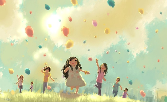 drawing of a bunch of children running down a field aesthetic computer wallpaper colorful balloons in the air