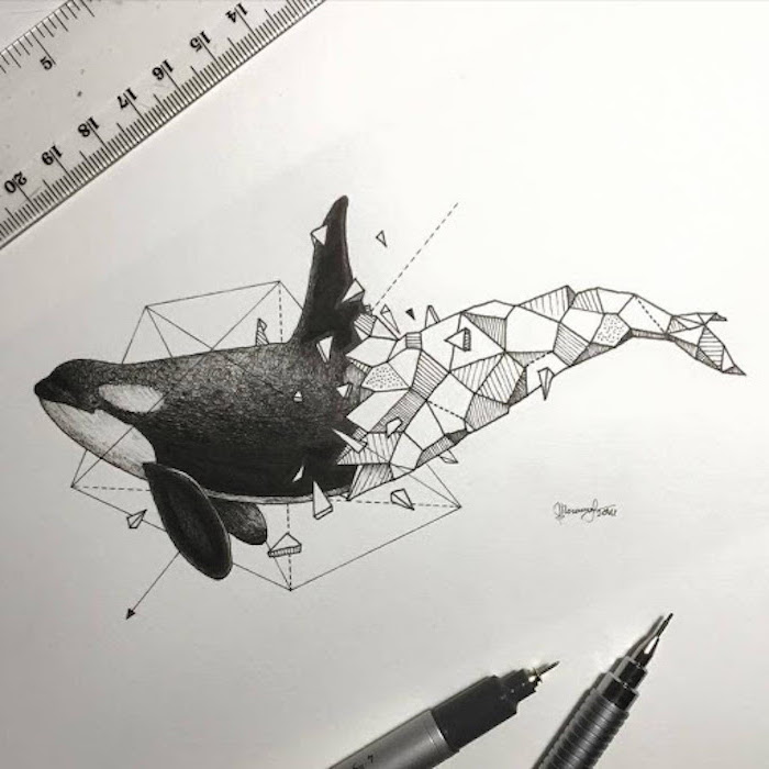 drawing of a whale half whale in black other half geometrical pictures of animals to draw white background