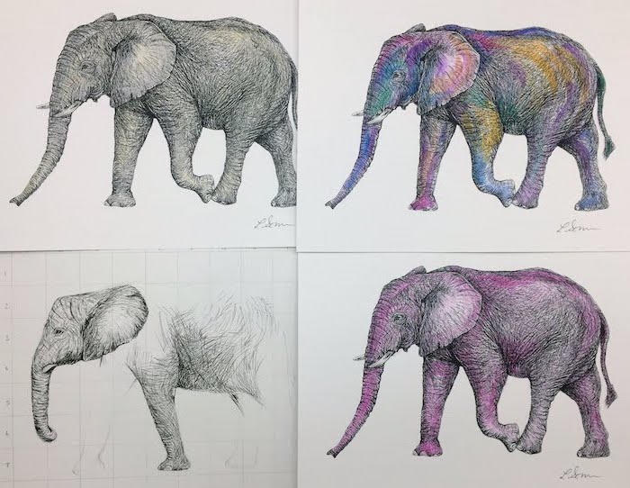 drawing of an elephant colored in different colors step by step drawing animals drawn in four steps diy tutorial