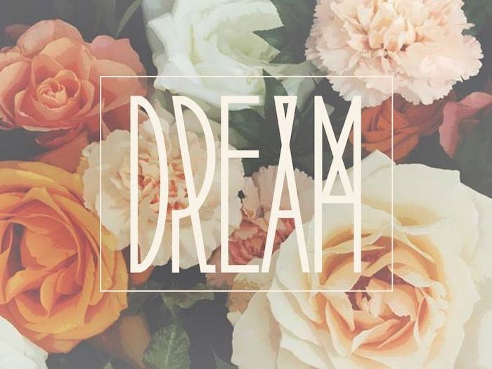 dream written with large white letters cute computer backgrounds pink white orange roses in the background