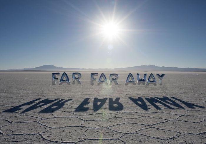 far far away silver balloons high resolution desktop backgrounds desert landscape with sun shining high on blue sky