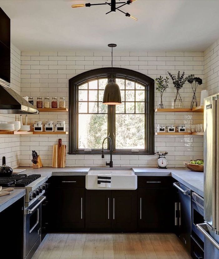 farmhouse kitchen cabinets black cabinets with dark gray granite countertops subway tiles backsplash open shelving