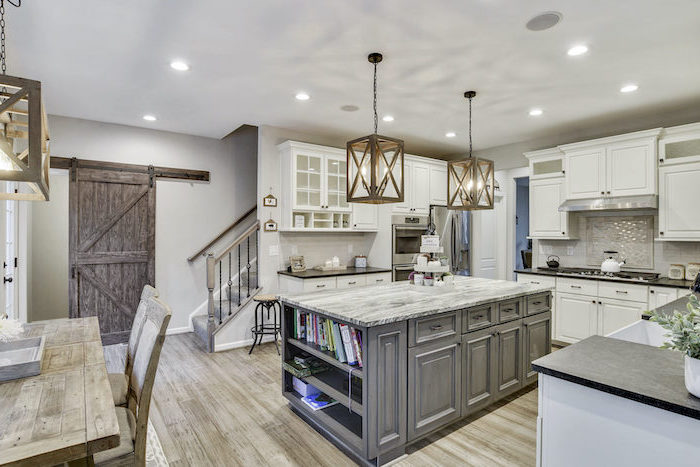farmhouse kitchen decor ideas gray wooden kitchen island with granite countertop white cabinets black countertop