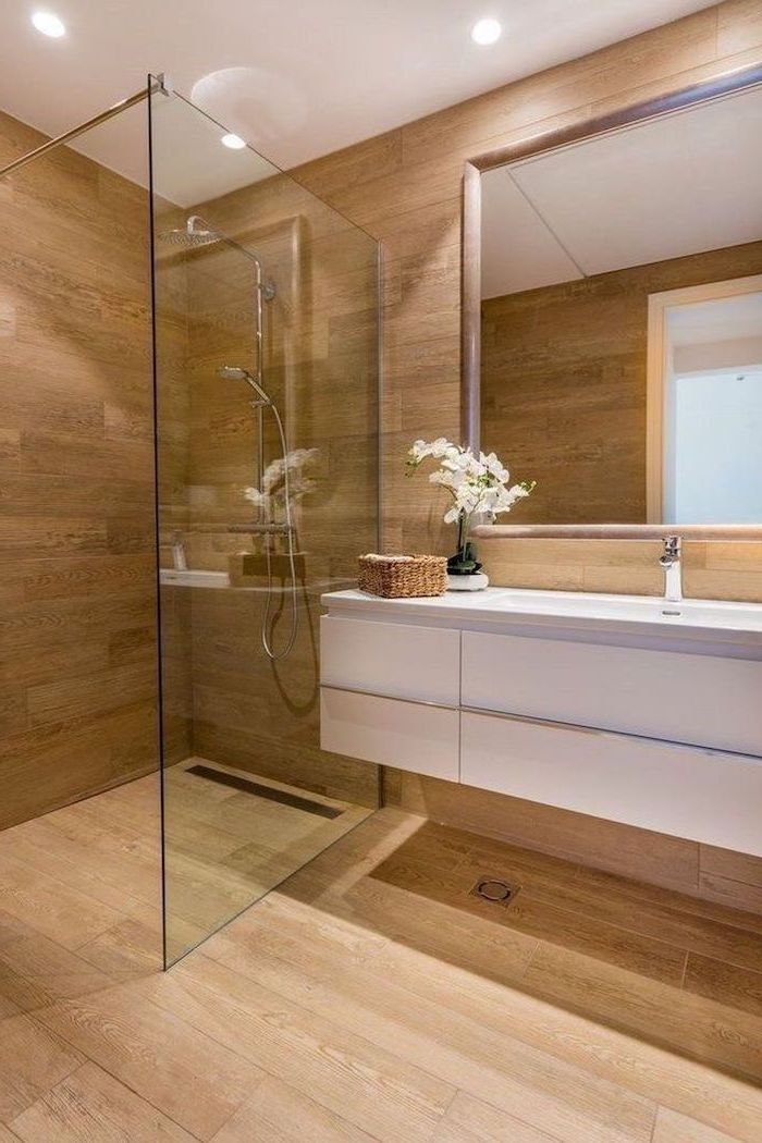 floating white cabinets wooden walls and floor glass shower cabin bathroom decor pictures large mirror on the wall