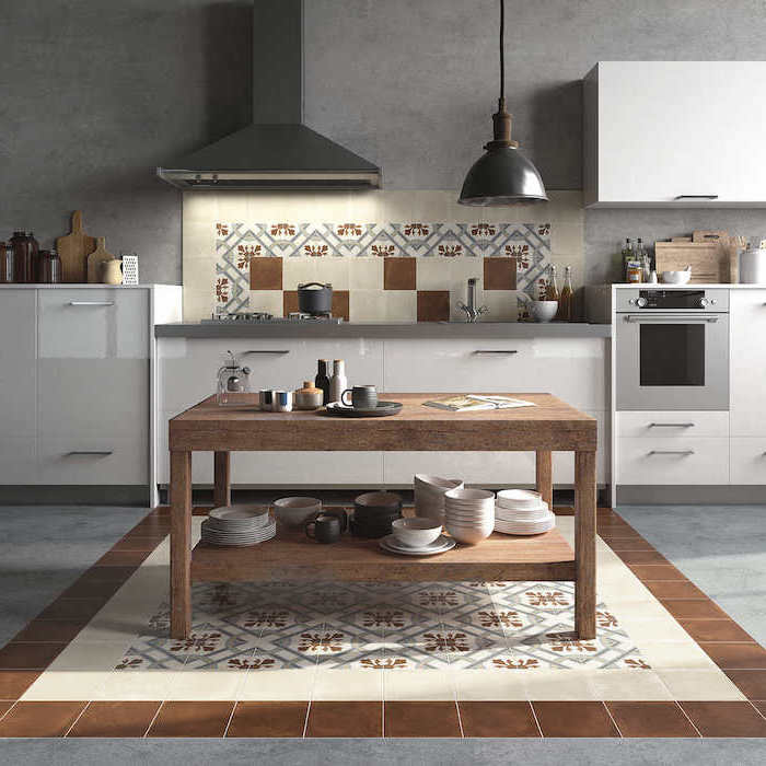 floor and wall with matching tiles in beige and white kitchen backsplash pictures white cabinets wooden kitchen island