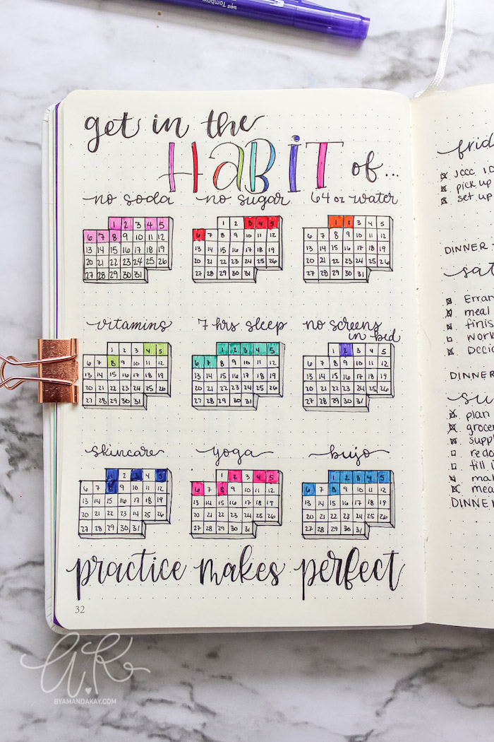 get in the habit of practice makes perfect what is a bullet journal calendar with different habits written in white notebook