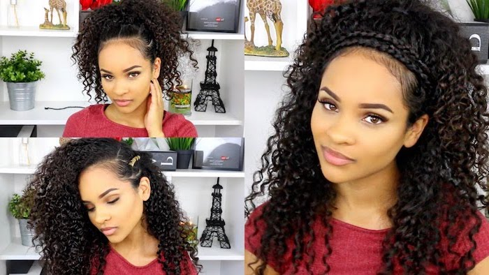 girl with long black curly hair back to school hairstyles photo collage of three different hairstyles