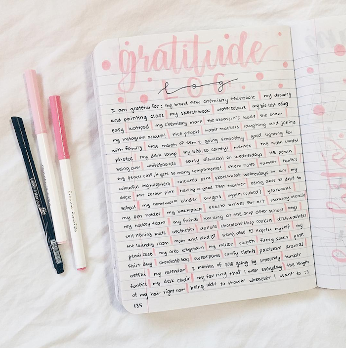 gratitude log written in calligraphy bullet journal weekly spread white textbook pink pens on the side