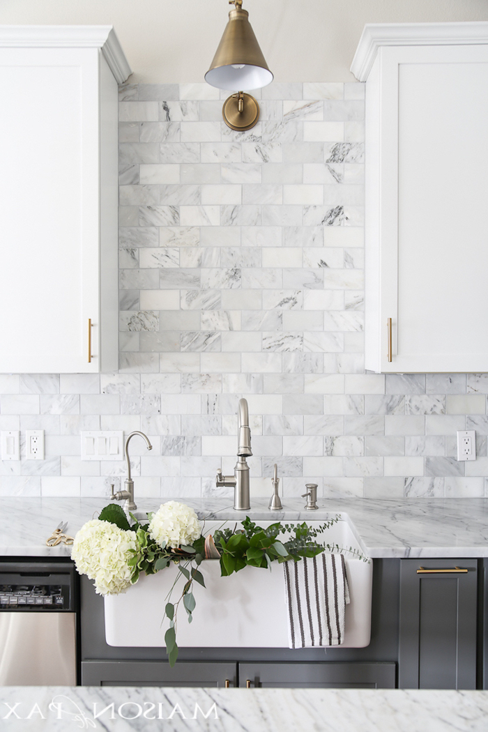 gray cabinets with marble countertops tiles in different shades of gray and white kitchen tile backsplash ideas