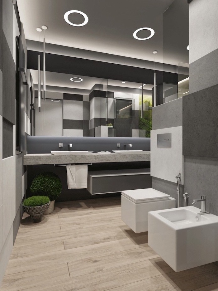 gray walls floating cabinets with two sinks large mirror above them with led lights small bathroom designs with shower wooden floor