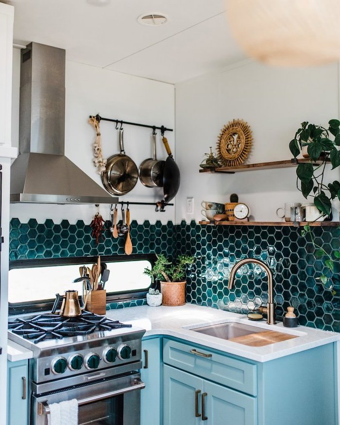 green honeycomb tiles on half of the wall backsplash tile ideas turquoise cabinets with white countertop